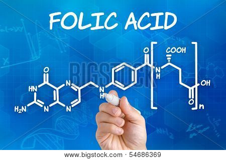 Hand with pen drawing the chemical formula of folic acid