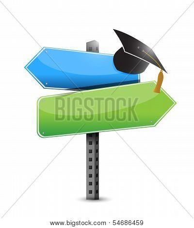 Graduation Hat And Road Sign Illustration Design