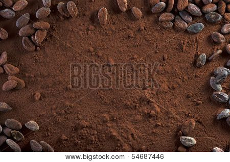 Cocoa Powder And Cocoa Beans Background Copy Space