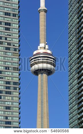 TORONTO, CANADA - JULY 2: CN Tower closeup on July 2, 2012 in Toronto. Buit in 1976 as the unique landmark of Toronto, it was world's tallest tower for 34 years