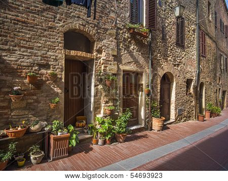 medieval street in Tuscany