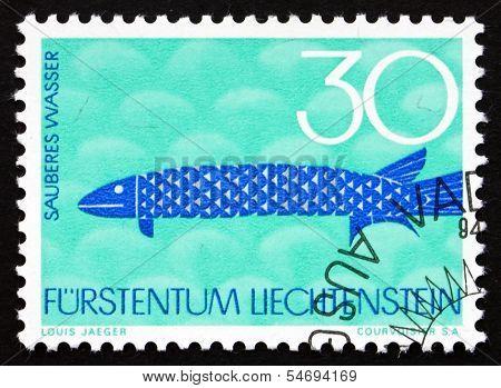 Postage Stamp Liechtenstein 1966 Unpolluted Water, Fish, Nature
