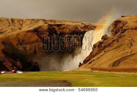 Rainbow spray from Skogafoss waterfall, Iceland