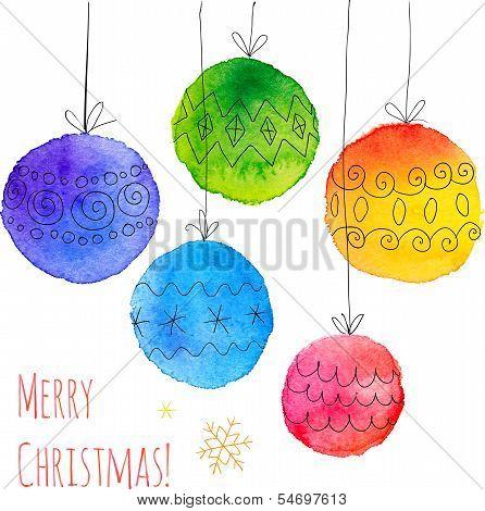 Watercolor painted hand drawn Christmas balls