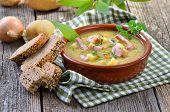 picture of meals wheels  - Freshly made potato soup with bacon strips and Vienna sausage wheels - JPG