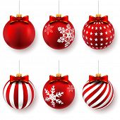 stock photo of adornment  - Red christmas balls on gift bows isolated on white - JPG