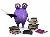 stock photo of bookworm  - A cute charming cartoon monster holding a book in his hand - JPG