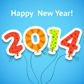pic of balloon  - Happy New Year 2014 colorful greeting card with balloons - JPG