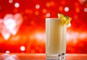 image of pina-colada  - pinacolada pina colada cocktail glitter red golden background - JPG