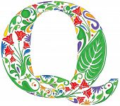 picture of initials  - Colorful floral initial capital letter Q  - JPG