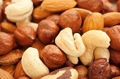 stock photo of hazelnut  - Background from various kinds of nuts almond - JPG