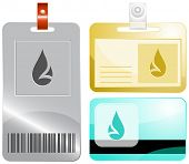 Drop. Id cards. Raster illustration.