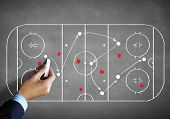 Close up image of human hand drawing hockey tactic plan