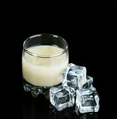 pic of bailey  - Baileys liqueur in glass isolated on black - JPG