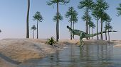 stock photo of dilophosaurus  - dilophosaurus on shore - JPG