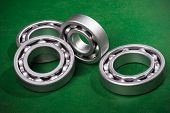 stock photo of bearings  - metal chrome bearing  - JPG