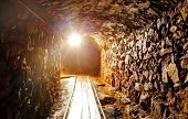stock photo of templar  - Dark Underground tunnel in a old mine - JPG