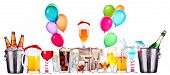 picture of champagne color  - alcohol drinks set  with lot of air balloons  - JPG