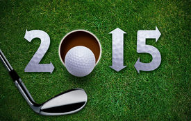 stock photo of grass area  - Happy New Golf year 2015 Golf ball and putter on green grass the same concept available for 2016 and 2017 year - JPG