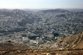 foto of samaria  - Nablus, the Biblical City of Shechem in the Samaria, betwen the Ebal Mount and Gerizim Mount, Holy Land, Israel ** Note: Slight blurriness, best at smaller sizes - JPG