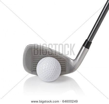 ball and golf club isolated on white
