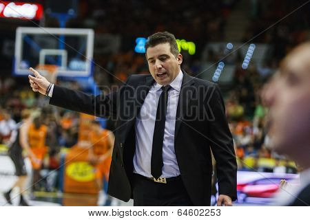 VALENCIA - MAY, 3: Bilbao coach Pueyo during a Spanish league match between Valencia Basket Club and Bilbao at the Fonteta Stadium on May 3, 2014 in Valencia, Spain