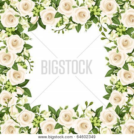 Vector background with white roses and freesia flowers.