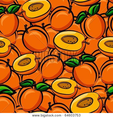 Apricots Seamless Background