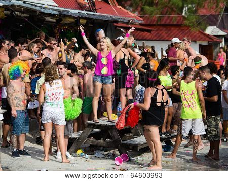 Full Moon Party In Koh Phangan, Thailand.