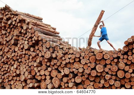 man on top of large pile of logs lifting  heavy log - training