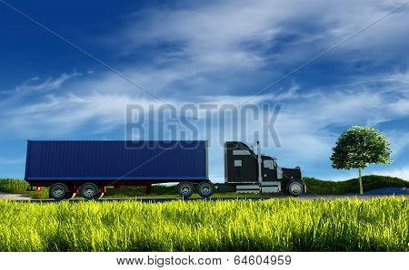 Truck on background of blue sky.