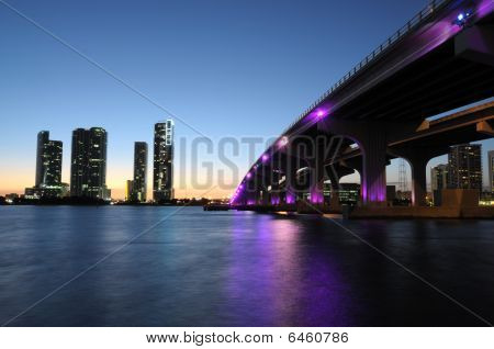 Bridge Over The Biscayne Bay At Night, Miami