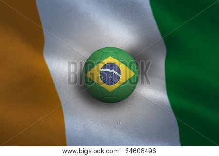 Football in brasil colours against ivory coast background