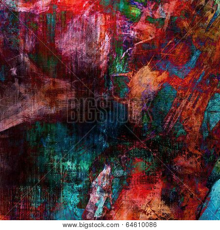 art abstract acrylic and pencil background in magenta, pink and green colors