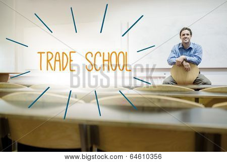 The word trade school against lecturer sitting in lecture hall