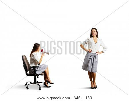 aggressive woman and calm smiley woman. isolated on white background