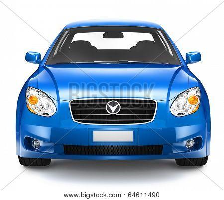 Blue Sedan Car