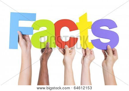 Multiethnic Hands Holding Text Facts