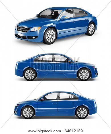 3D Image of Blue Family Car