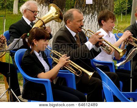 BUDYONNOVSK, STAVROPOL REGION, RUSSIA - MAY 1, 2014: municipal brass band on the Labor Day celebration, on 1st of May 2014, in Budyonnovsk, Russia.