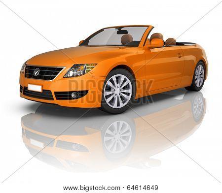 Orange Elegant Convertible Car