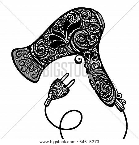 Vector Ornate Hairdryer. Vintage Design