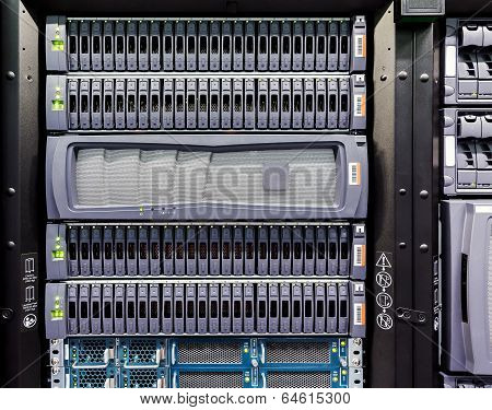 Rows Of Hard Drives In The Data Center