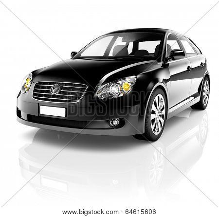 Black Sedan 3D Car