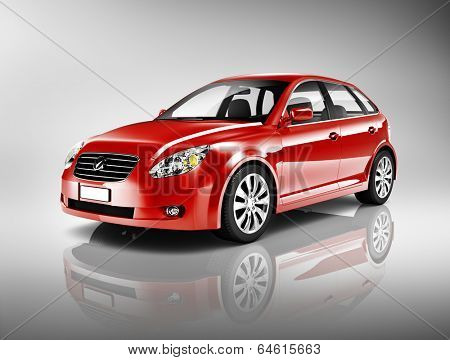Three-Dimensional Shape Red 3D Sedan Studio Shot