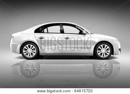 Side view studio shot of white car.