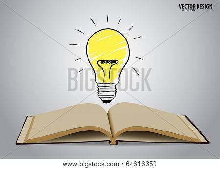 Opened book with light bulb. Vector illustration.