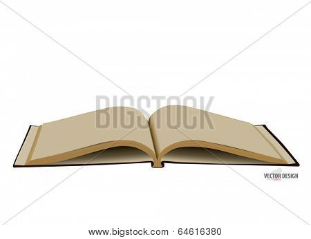Opened book with blank pages. Vector illustration.