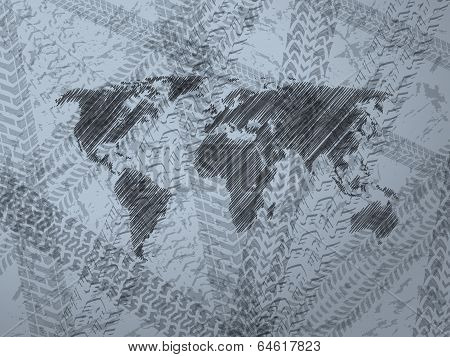 Abstract Background With Explored World Map