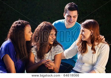 International Group Of Friends Interacting